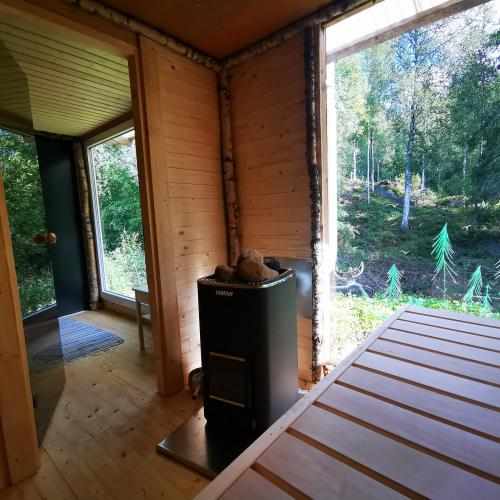 Ferienhaus Mittelschweden Troll Sauna mit BLick nach draußen